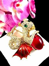 COUTURE 1960'S KENNETH J. LANE FANTASY BABY DRAGON GRIPOIX GLASS CABOCHON BROOCH