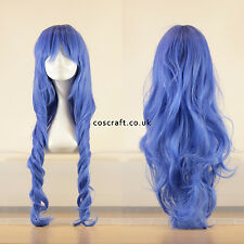 80cm long wavy curly cosplay wig in indigo blue, UK seller, Jeri style
