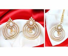 Indian Bollywood Pearl Beads White Forehead Maang Tikka & earring Set Jewelry