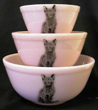 Crown Tuscan Pink Milk Glass Nest Nesting Bowls w/ Black Cats - Set of 3