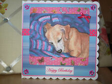 Handmade Sleeping Dachshund Birthday Card Dog Happy Blue Pink Greetings Artwork