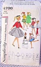 4700 SEWING PATTERN 1960s~BARBIE&BABETTE DOLL CLOTHES:COAT&EVENING GOWN+