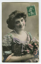 c 1910 Glamor Glamour PRETTY YOUNG LADY French Beauty photo postcard