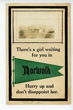 """""""A Girl Waiting for you in Norwalk WI"""" Rare RPPC Antique Photo Penant ca. 1912"""
