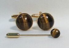 Tiger's Eye Cufflinks, (round, 15mm), with Cravat/Tie pin in a Gold finish.