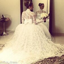 Custom Princess White Long Sleeve Lace Bridal Ball Gown High Neck Wedding Dress