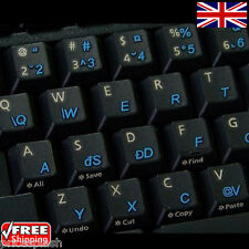 Romanian Transparent Keyboard Stickers and Blue Letters for Laptop PC Computer