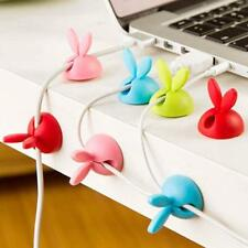 4pc Cute Rabbit Cable Wire Organizer Bobbin Winder Wrap Cord Office Solid Tool