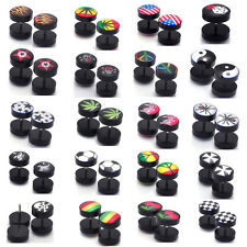 36pcs Lots Mixed Style Acrylic Skull Fake Ear Tunnels Screw Plugs Earlets Gauges