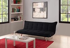 Modern Style Sofa Bed Futon Couch Sleeper in Black Microfiber W/ Chrome Legs