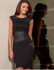 Lipsy Michelle Keegan New Black PU Faux Leather Bodycon Size 8 Pencil Dress