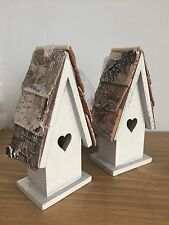 *Chic Pair of Wooden Hanging Bird Houses With Heart Cut Out. Great Wedding Dec