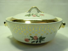 Hall China Flare Ware Covered Casserole White Gold Trim Pink Roses