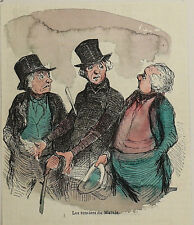 Honore Daumier France 1808-1879 Hand colored wood cut Les rentiers du Marais
