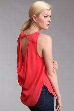 Haute Hippie Coral Orange  Cowl Open Back Blouse Top Shirt Tank $265 M Medium