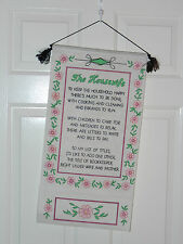 """ARTEX VINTAGE THE HOUSEWIFE 12 1/2"""" X 24"""" PAINTED DESIGN ON CLOTH"""