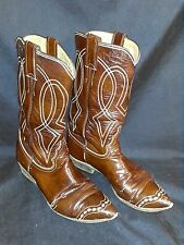 Justin Brown Patent 6B Womens Vintage Western Cowboy Boots w/threaded decor toe