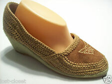 Hobo Hipster Impo Brown Green Crochet Platform Butterfly Shoes Size 9 N Narrow