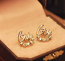 Women's/Girls 9ct Yellow Gold Plated 'LOVE' Crystal Diamond Stud Earrings