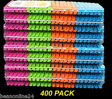 400 Pack x Coloured Plastic Clothes Pegs - 7cm Normal Size