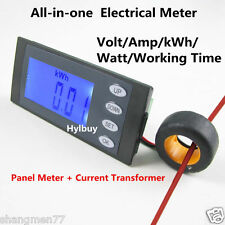 5 in 1 AC260V 100A Digital Combo Panel Meter Volt Amp kWh Watt Working Time + CT
