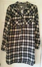 J Crew Factory Women Flannel shirtdress XXL #E1307 black champagne Pocket Cotton