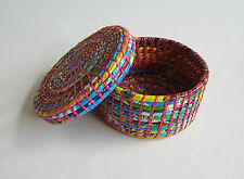 Box Storage Container Decorative Handcrafted Multicolour Round Recycled Plastic