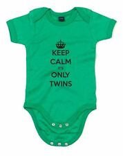 Keep Calm It's Only Twins, Printed Baby Grow