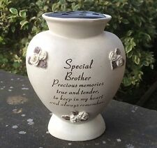 Memorial For Special Brother Heart Shaped Grave Flower Vase Rose Bowl Ornament