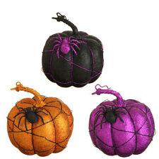 "RAZ Imports 7"" Glittered Pumpkin Set/3 Black Purple Orange Halloween NEW!"