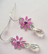 ACCESSORIZE SILVER EARRINGS – BEAUTIFUL PINK FLOWER DROP_DIAMANTE & BEAD DETAIL