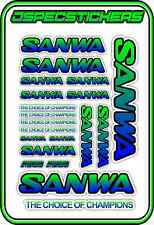 SANWA RC RADIO CONTROL STICKERS MT4 M12 SERVO RX TX CAR BUGGY NITRO BLUE GREEN B