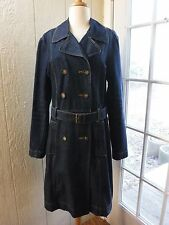 "Old Navy Dark Blue Double Button Up Long Sleeve Jean Dress Women L ""Excellent"""