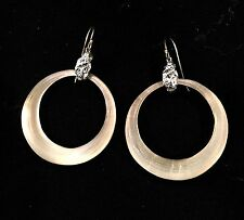 Alexis Bittar Drop Hoop Earrings Large Neutral White Ivory Silver Lucite Opal