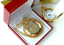 KNIGHTS TEMPLAR Freemason Masonic GOLD POCKET WATCH in Luxury Gift Box with Cert