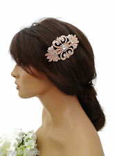 Beautiful Diamante Barrette Hair Clip Grip Vintage Look Scroll Design Rose Gold