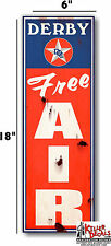 "6""X20"" RUSTY LOOKING DERBY FREE AIR meter decal lubster gas pump oil man cave"