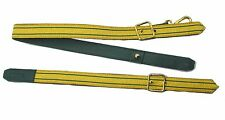 Sword Sling Gold 2 Green Strips on Green Leather Gold Buckle Long & Short R1806