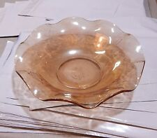 "Vintage Jeanette Glass FLORAGOLD Louisa Bowl 9 1/2 x 2 3/4"" Ruffled Iridescent"