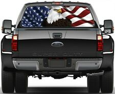 USA American Flag Bold Eagel Rear Window Graphic Decal for Truck SUV Vans Ver 3