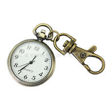 Bronze White Dial Arabic Numerals Key Ring Keychain Pocket Quartz Watch Gift