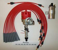 PONTIAC 350-389-400-455 RED Small FEMALE Cap HEI Distributor,40k Coil,PLUG WIRES