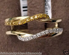 Wave Design 14k Yellow Gold Solitaire Enhancer White Canary Diamonds Ring Guard