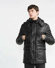 ZARA MAN PARKA FAUX LEATHER THREE QUARTER LENGHT BLACK Size M