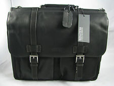 NEW Kenneth Cole Genuine Cowhide Leather Briefcase Black Laptop Messenger Bag