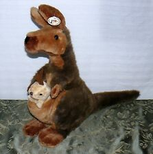 PLUSH KANGAROO WITH BABY JOEY 22 INCHES HIGH WITH TAGS MOM SOFT FLUFFY