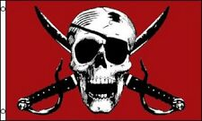 Crimson Pirate Flag Ship Banner Skull Sword Pennant 3x5 Jolly Roger New