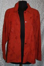 Coldwater Creek 1X Plus Top Jacket Linen Blend Rust Embroidered Button Front