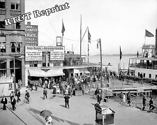 Photograph Vintage Detroit Woodward Bois Blanc Bob Lo Excursion Dock 1900c 8x10