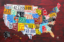 License Plate Map of the United States Collections Poster Print, 36x24